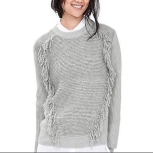 Banana Republic Fringe Light Gray Knit Sweater, M